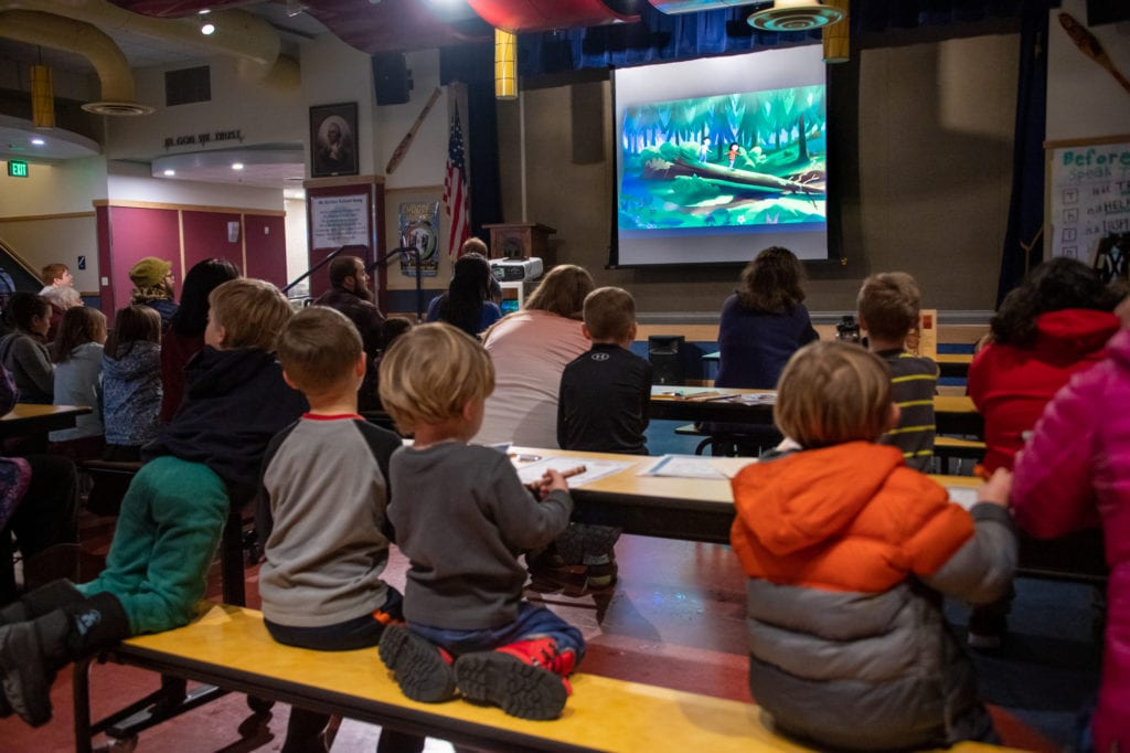 """Residents attend a screening of """"Molly of Denali"""" at Mt. Eccles Elementary School. (Nov. 23, 2019) Photo by Zachary Snowdon Smith/The Cordova Times"""