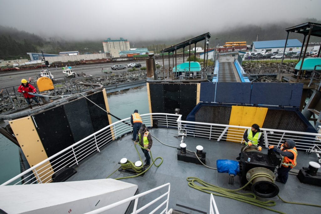 The M/V Aurora prepares to unload vehicles and passengers in Whittier. (Sept. 19, 2019) Photo by Zachary Snowdon Smith/The Cordova Times