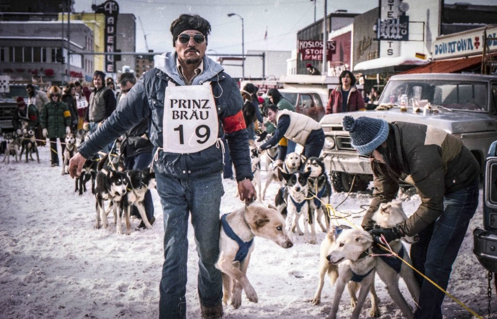 Huslia Hustler George Attla at the Fur Rendezvous World Championship races in Anchorage. Photo courtesy of Rob Stapleton