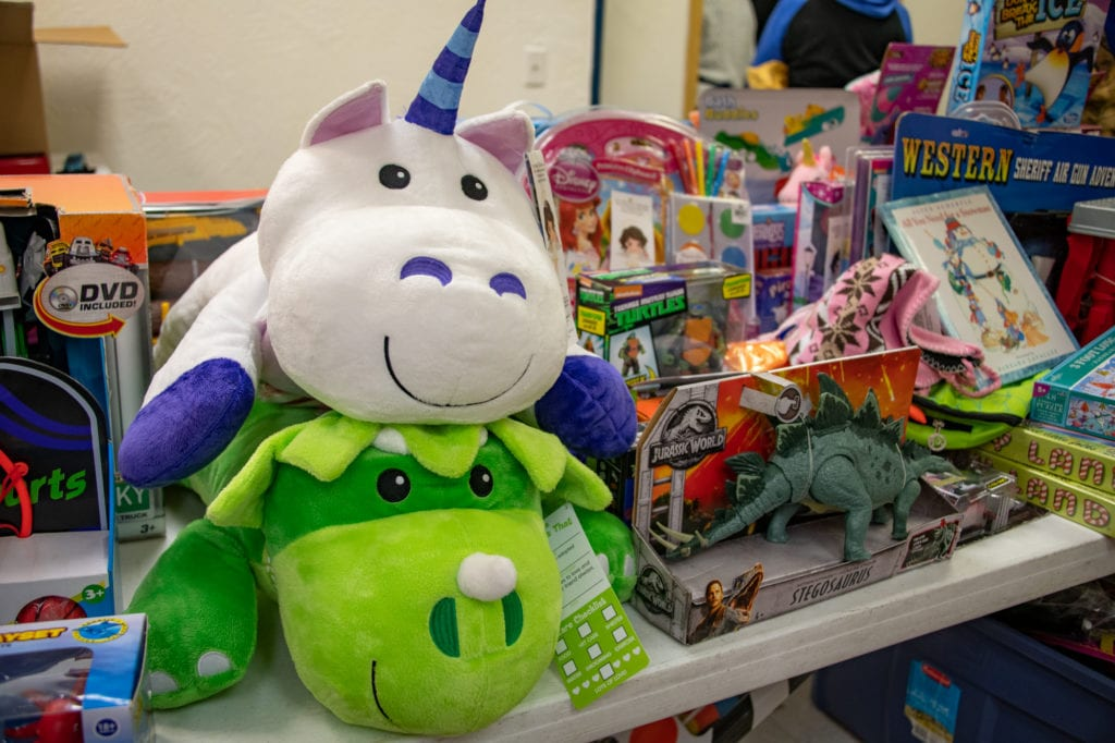 A variety of gift items available at the Salvation Army's Christmas food and toy distribution event. (Dec. 17, 2019) Photo by Zachary Snowdon Smith/The Cordova Times
