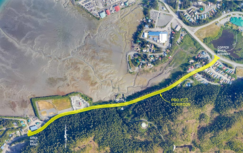 The project corridor for a proposed pedestrian path running along Whitshed Road. Image courtesy of the Alaska Department of Transportation & Public Facilities
