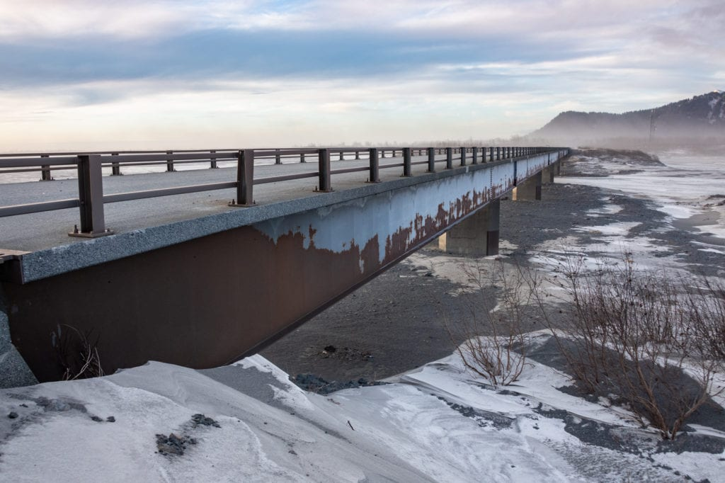 The W.H. Mumby Bridge, located on the Copper River Highway. (Dec. 21, 2019) Photo by Zachary Snowdon Smith/The Cordova Times