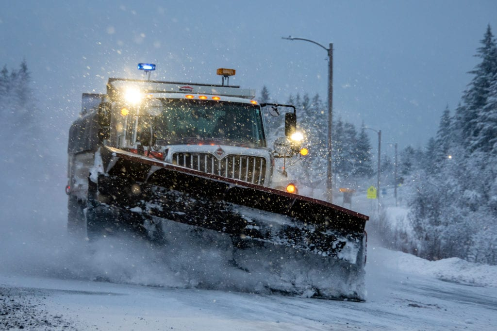 Snow plows sweep clean the Copper River Highway. (Jan. 1, 2020) Photo by Zachary Snowdon Smith/The Cordova Times