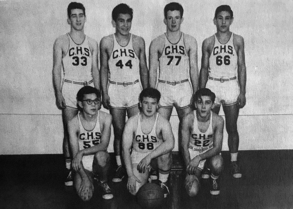 The 1952-53 Cordova Wolverines, replete in repeating double-digit uniform numbers. Front row, from left, Roy Triber, Charles McCracken and Ted Siemion. Back row, from left, Frank Siemion, Stanley Makarka, Bob Maxwell and Jerry Olsen. Not shown: Martin Parsons and Ralph Fenner. CHS Annual photo