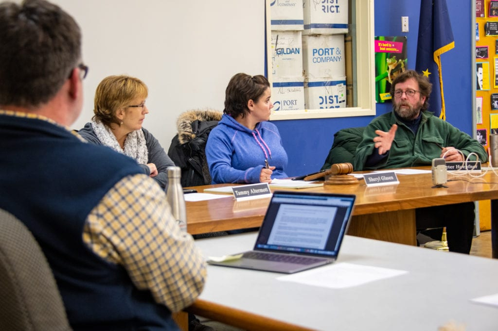 From left, Cordova School District Superintendent Alex Russin with school board members Tammy Altermott, Sheryl Glasen and Peter Hoepfner. (Jan. 8, 2020) Photo by Zachary Snowdon Smith/The Cordova Times