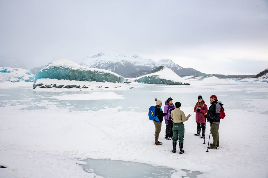 The U.S. Forest Service and Prince William Sound Science Center led residents on an educational excursion to Sheridan Glacier, an ice worm habitat. (Jan. 25, 2020) Photo by Zachary Snowdon Smith/The Cordova Times
