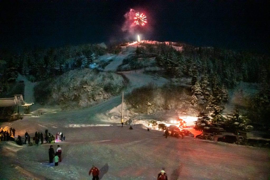 Fireworks at Ski Hill. (Jan. 3, 2020) Photo by Zachary Snowdon Smith/The Cordova Times