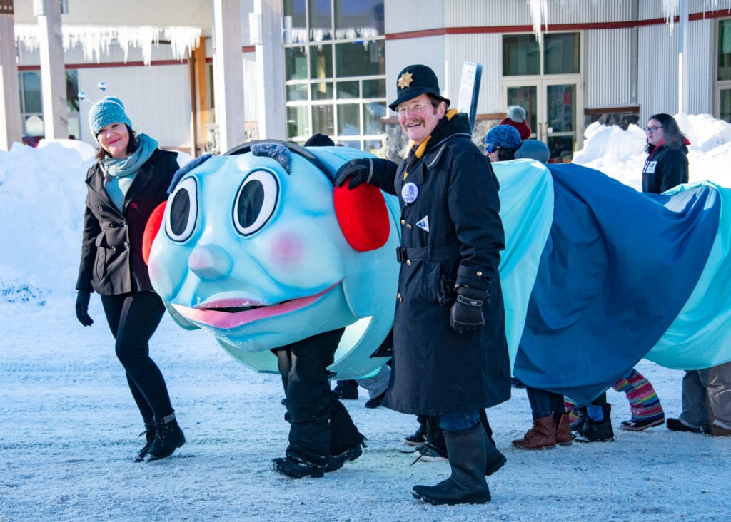 The Iceworm marches down First Street. (Feb. 1, 2020) Photo by Zachary Snowdon Smith/The Cordova Times