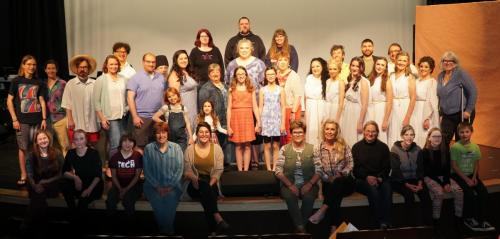 """The cast of """"Mamma Mia!,"""" presented by Stage of the Tide. Photo courtesy of Barclay Kopchak"""