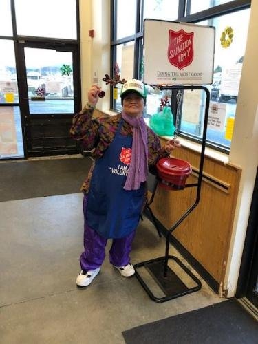 Ampy Bellinger gathers donations for the Salvation Army at AC Value Center. Photo courtesy of Debra Ethier